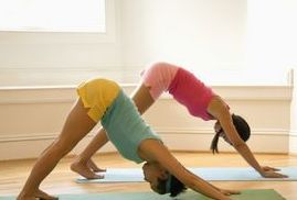 Downward facing dog stretches